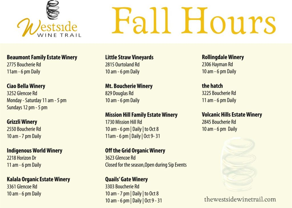 fall wine tasting Westside Wine Trail