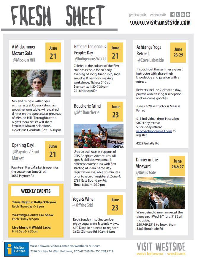 June 20 things to do in west kelowna